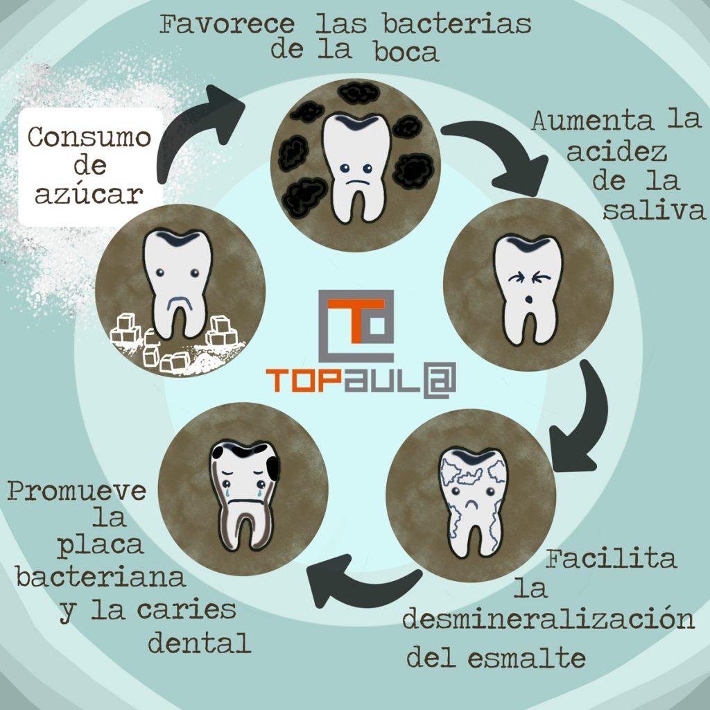 Infografía ¿Cómo afecta el exceso de azúcar a tu salud dental? - www.topaulasalud.com