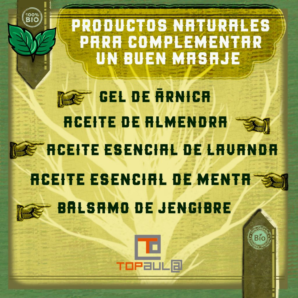 Infografia ¿Qué productos naturales pueden complementar un buen masaje? - www.topaula.com