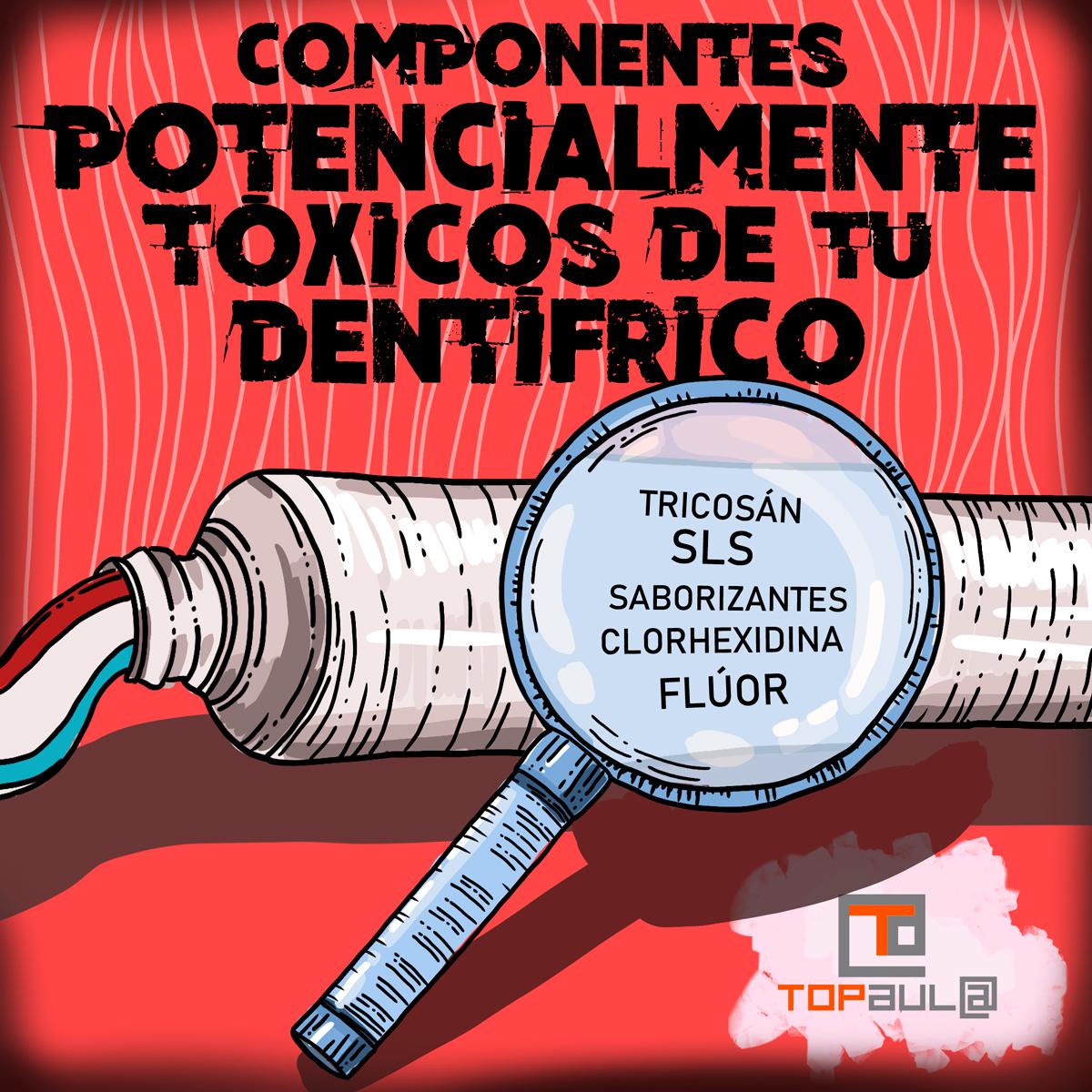 Infografia Componentes potencialmente tóxicos en tu dentífrico. ¿Los conoces? - www.topaulasalud.com