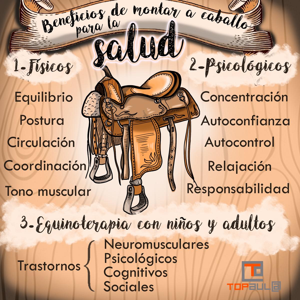 Infografía Beneficios de montar a caballo para la salud - www.topaulasalud.com