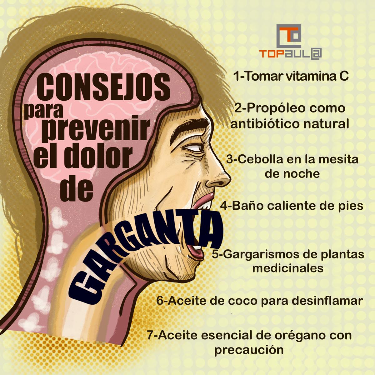Infografía Consejos para prevenir el dolor de garganta - www.topaulasalud.com