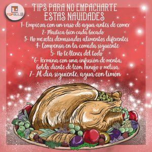 Infografía Tips para no empacharte en estas Navidades - www.topaula.com