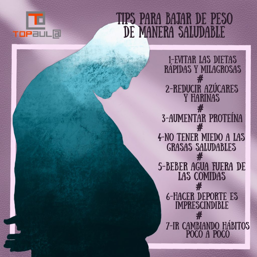 Infografía Tips para bajar de peso de manera saludable - www.topaula.com