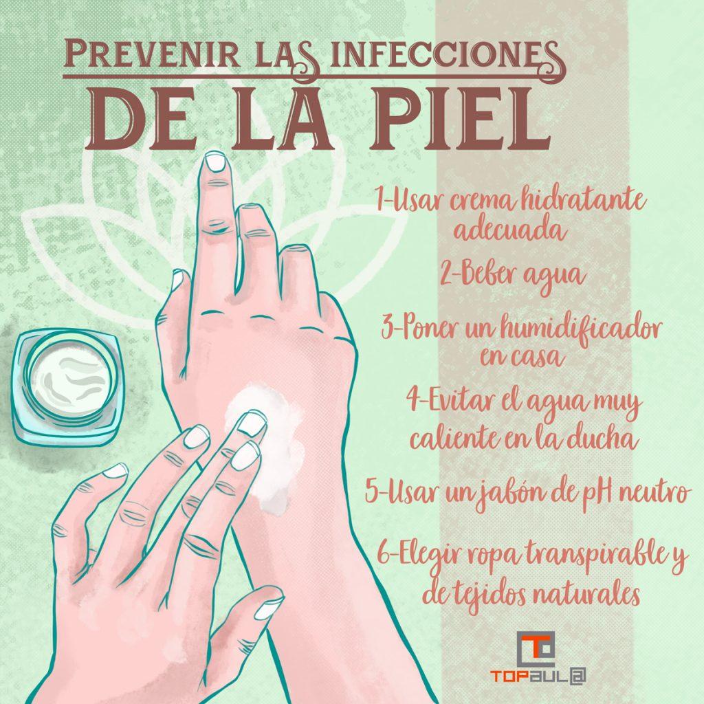 Infografía - ¿Cómo podemos prevenir las infecciones de la piel? - www.topaula.com