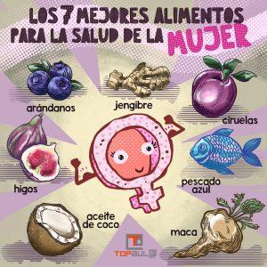 Infografía - Los 7 mejores alimentos para la salud de la mujer - www.topaula.com
