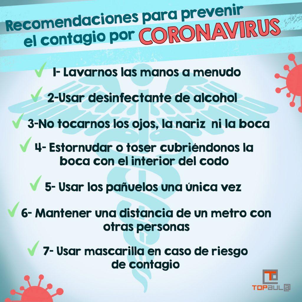 Infografía - Recomendaciones para prevenir el contagio por coronavirus - www.topaula.com